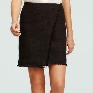 Ann Taylor Black Tweed Fringe Pencil Skirt